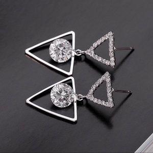 Silver & CZ Triangle Stud Drop Earrings